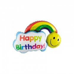 Шар Фигура Смайл с радугой на День Рождения 99см