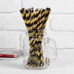 """Трубочка для коктейля """"Спираль"""" набор 25 шт, цвет чёрный-золото 3945388"""