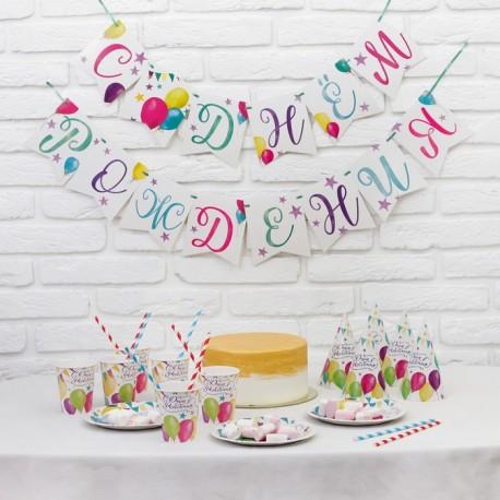 """Набор бумажной посуды """"С днём рождения Шары"""", 6 тарелок, 6 стаканов, 6 колпаков, 1 гирлянда 387735"""
