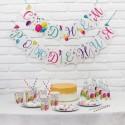 Набор бумажной посуды С днём рождения Шары: 6 тарелок, стаканов, колпаков, 1 гирлянда 19см