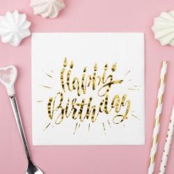Салфетки Happy birthday тиснение розовое золото на белом фоне 25х25см 20шт