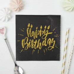 Салфетки Happy birthday золотое тиснение на черном фоне 25х25см 20шт