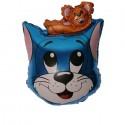 Шар Кот с мышонком синий 68см