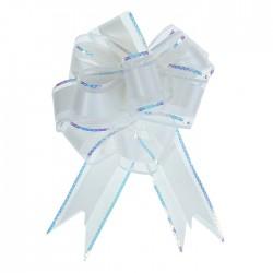 Бант-шар №5 органза с полосой пластик, белый 1020439
