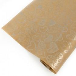 Упаковочная бумага Крафт 40гр (0,72 х 10 м) Сердечки фигурные, Серебро, 1 шт