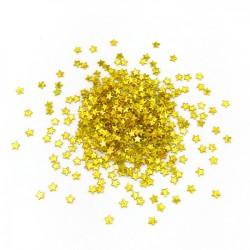 Глиттер Звезды лазерный золотой 3мм 100гр