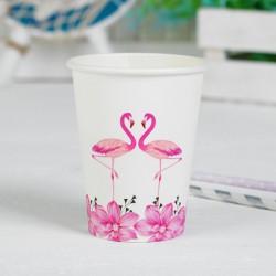 Стакан бумажный Фламинго и розовые цветы 6шт