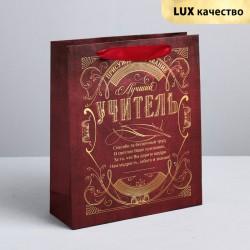 Пакет крафтовый вертикальный «Лучший учитель», ML 23 × 27 × 8 см 4096066