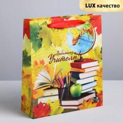 Пакет крафтовый вертикальный «Любимому учителю!», ML 23 × 27 × 8 см 4096063