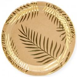 Тарелки (7''/18 см) Золотые листья, Крафт, 6 шт.