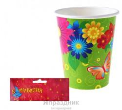 Набор стаканов Цветочки бабочки 6 шт