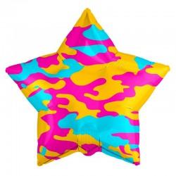 Шар Звезда Камуфляж гламурный 53см