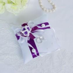 Подушечка для колец №2, бело-фиолетовая 3183963