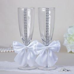 """Набор свадебных бокалов """"Элит"""", с бантом и стразами, белые 2698952"""