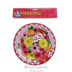 Набор тарелок Цветы С праздником 18см 6шт