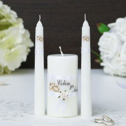 """Набор свечей """"Совет да любовь"""" белый: Родительские свечи 1,8х15,Домаш очаг 5,2х9,5 2482739"""