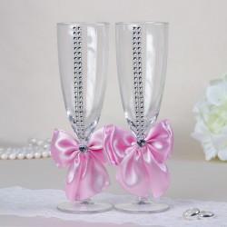 """Набор свадебных бокалов """"Элит"""", с бантом и стразами, розовые 2261009"""