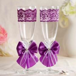 """Набор свадебных бокалов """"Элит"""", с бантом, фиолетовый 1824784"""