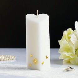 Свеча пирамида Сердце белая с декор.сердечками 68х150см