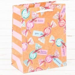 Пакет крафтовый вертикальный «Пожелания!», ML 23 × 27 × 11,5 см 2942146