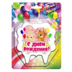 Свеча тортовая С Днем Рождения! Мишка с тортом 10см