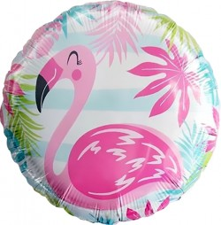 Шар Круг Фламинго, голубые полосы 48см