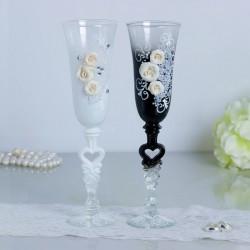 """Набор свадебных бокалов """"Розы"""", с лепниной, чёрно-белый 2882249"""