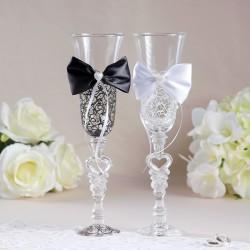 Набор свадебных бокалов «Бант», чёрно-белый 2882234