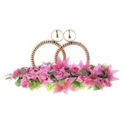 Кольца на крышу бело-золотые с колокольчиками на основе розовые цветы 19х57х36см 4шт