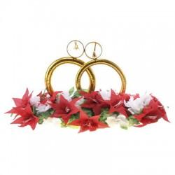 Кольца на крышу Золото с колокольчиками на основе красные лилии и белые розы 19х57х36см 4шт