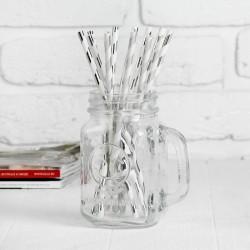 """Трубочка для коктейля """"Полоска"""" набор 12 штук, цвет серебро 1498616"""