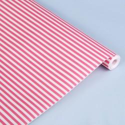 Крафт-бумага упаковочная белёная Полоски розовые рисунок розовый 50х10м
