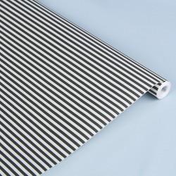 Крафт-бумага упаковочная белёная Полоски чёрные рисунок 0.5х10м
