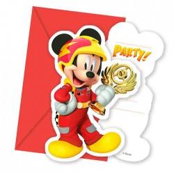 "P Приглашения ""Микки Маус Гонщик"" / Mickey Roadster / набор 6 шт. / (Китай)"