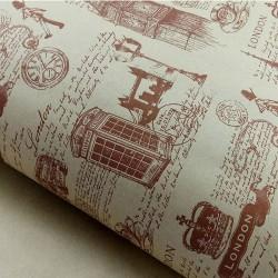 """Крафт-бумага упаковочная """"Лондон"""" рисунок коричневый на коричневом / рулон 70 см * 8,5 м, 70 гр/м.кв"""