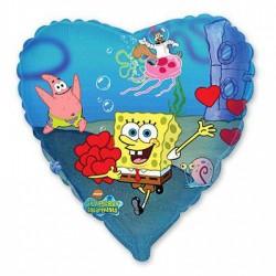 Шар Сердце Боб квадратные штаны с сердцами 48см