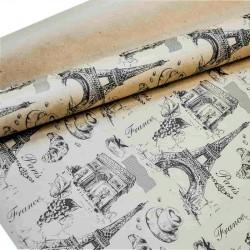 """Крафт-бумага упаковочная """"Париж"""" рисунок черный на коричневом / рулон 70 см * 8,5 м, 70 гр/м.кв (Рос"""