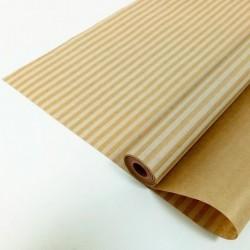 """Крафт-бумага упаковочная вержированная """"Полоски"""" рисунок белый на коричневом / рулон 72 см * 10 м, 4"""