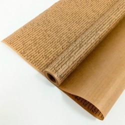 """Крафт-бумага упаковочная вержированная """"Рукопись"""" рисунок черный на коричневом / рулон 72 см * 10 м,"""