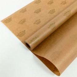 """Крафт-бумага упаковочная вержированная """"Короны"""" рисунок золотой на коричневом / рулон 72 см * 10 м,"""
