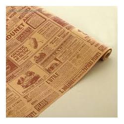 """Крафт-бумага упаковочная """"Винтажная газета"""" рисунок коричневый на коричневом / рулон 70 см * 8,5 м,"""