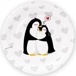 Тарелки (7''/18 см) Влюбленные пингвины, Белый, 6 шт.
