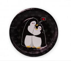 Тарелки (9''/23 см) Влюбленные пингвины, Черный, 6 шт.