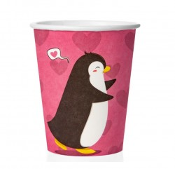 Стаканы (250 мл) Влюбленные пингвины, Розовый, 6 шт.