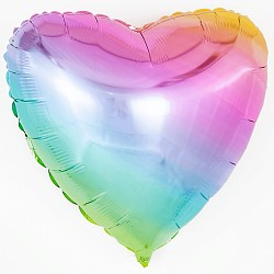 Шар (18''/46 см) Сердце, Нежная радуга, Градиент, 1 шт.