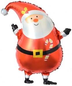 Шар с клапаном (14''/36 см) Мини-фигура, Санта в красном колпачке, 1 шт.
