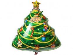 Шар с клапаном (14''/36 см) Мини-фигура, Новогодняя елка, 1 шт.
