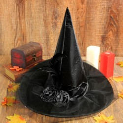 """Карнавальная шляпа """"Ведьмочка"""" с фатой, цвет черный"""
