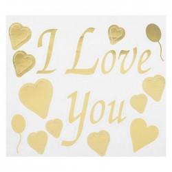 """Наклейка на полимерные шары """"Я тебя люблю"""", сердца, цвет золотой"""