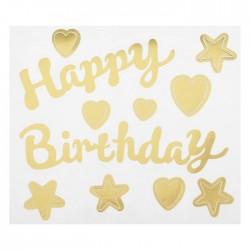 """Наклейка на полимерные шары """"С днем рождения"""", сердца, цвет золотой 4265826"""